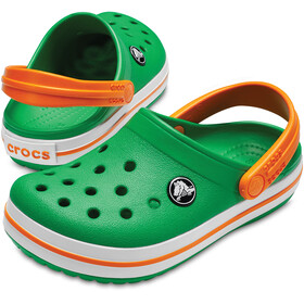 Crocs Crocband Clogs Kids Grass Green/White/Blazing Orange
